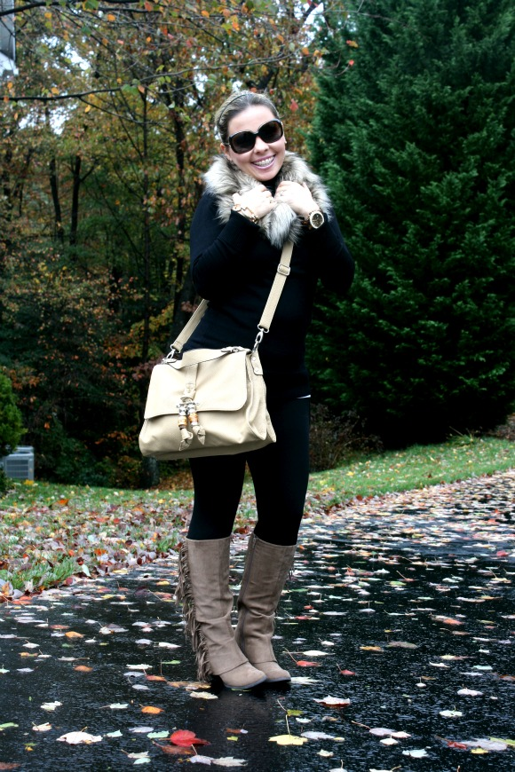Black leggings with zippers from Zara, Fergalicious Lucy Boot from DSW, Michael Kors Oversized Madison Chronograph, Burberry Oversized Round Check Sunglasses, Faux Fur Scarf from Target