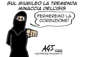 Isis, Giubileo, terrorismo, corruzione, vignetta satira