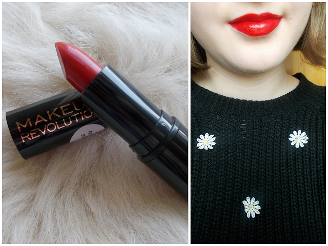 Makeup Revolution red lipsticks review/comparision: Ruby Atomic