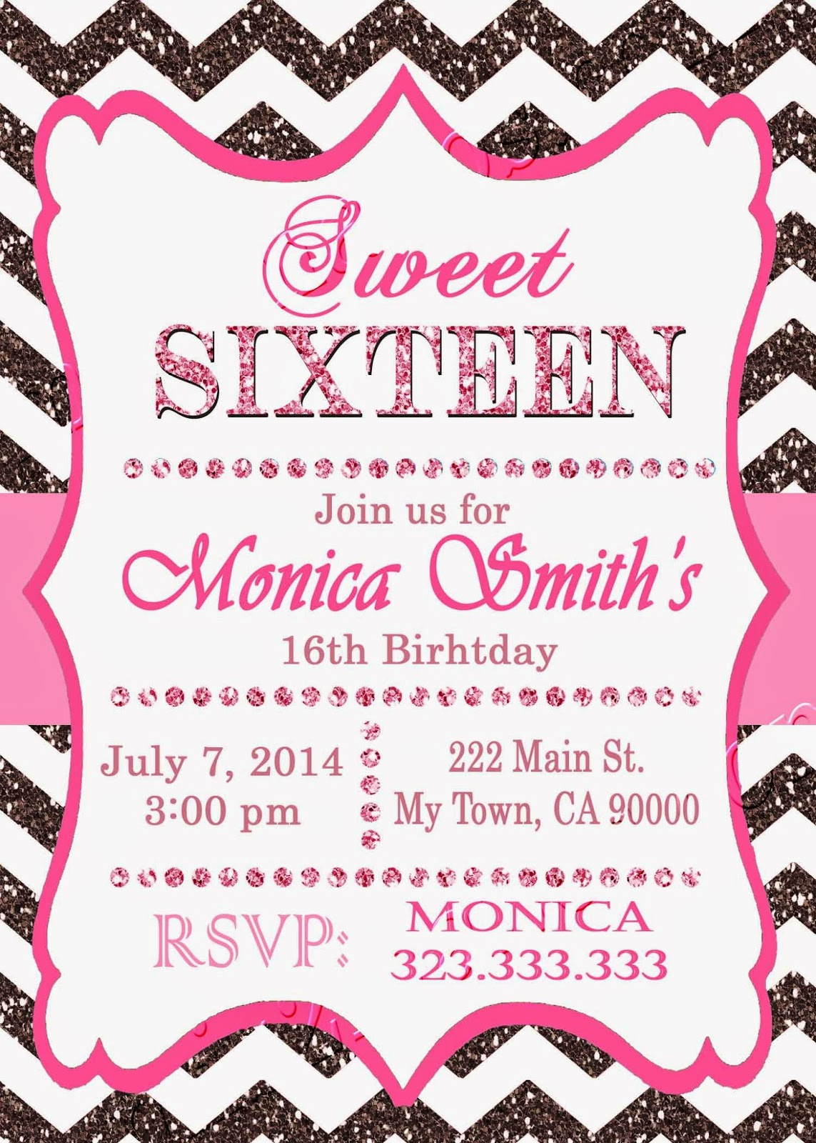 Mis 2 Manos Made by My Hands 16th birthday invitation Sweet – Printable 16th Birthday Invitations