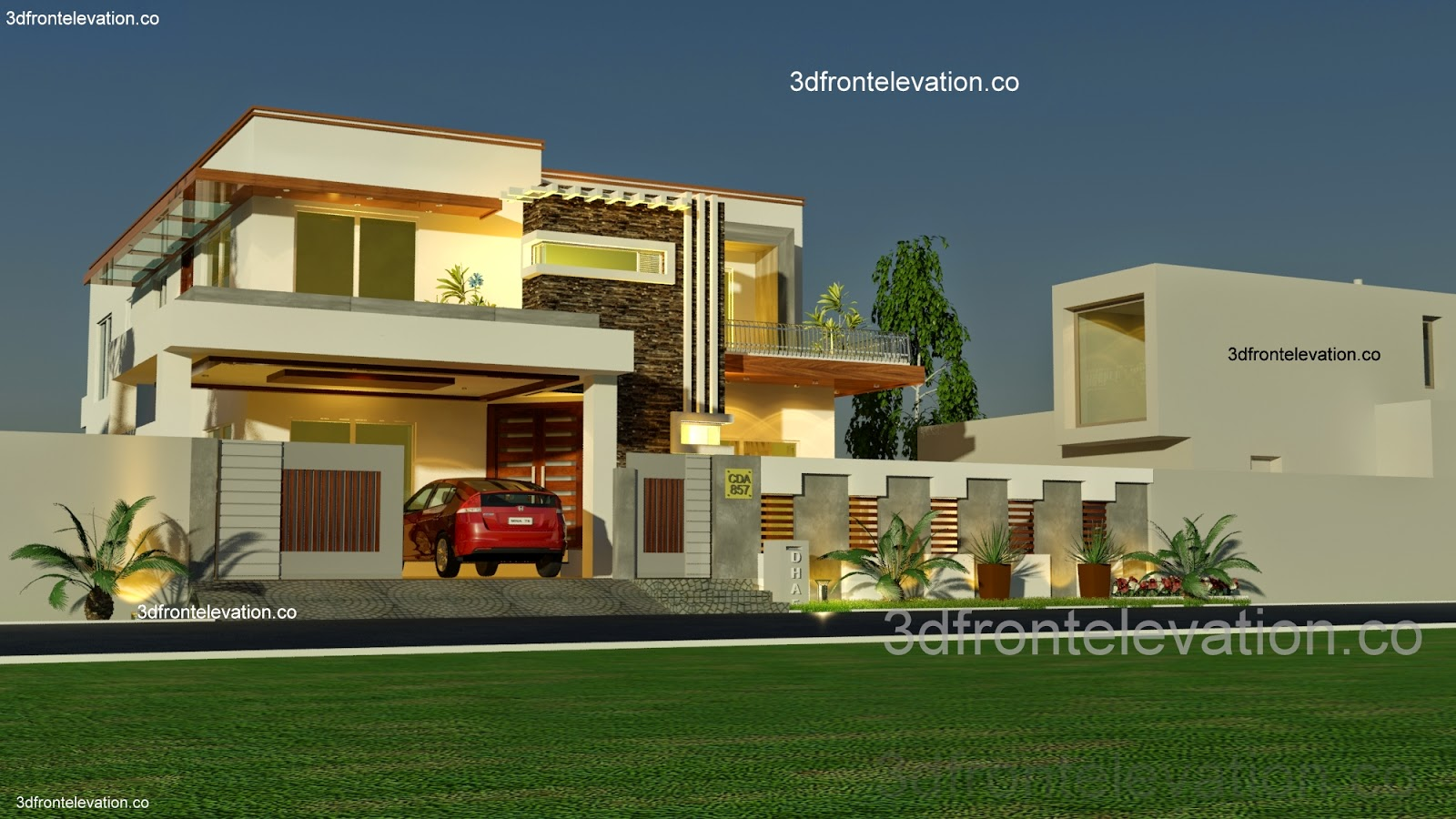 3d front 1 kanal house plan layout 50 39 x 90 for New home designs pictures in pakistan