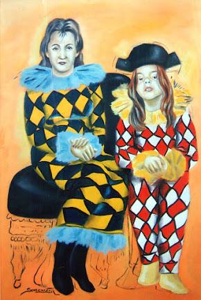 A mãe e a filha do desenhista.