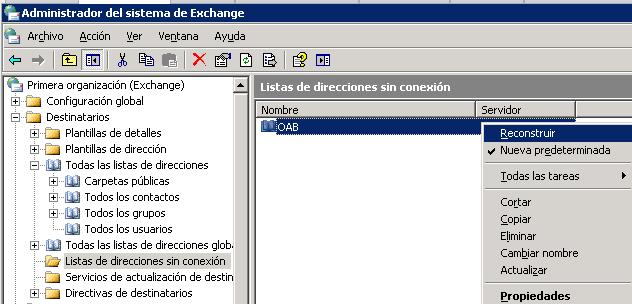 Exchange 2003: Forzar la actualización de la OAB