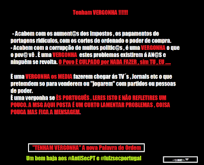 Anonymous Hackers AntiSecPT AntiSecPortugal AntiSec Cyber Justice Guerrilha Guerrilla Cyber-Guerrinha Defaced PSD Website