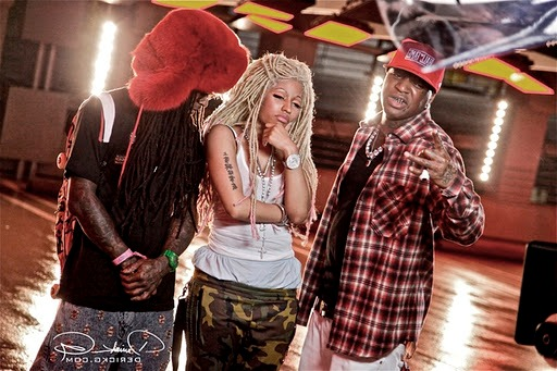 Foto do Lil Wayne, Nicki Minaj e Birdman no clipe Y.U. Mad