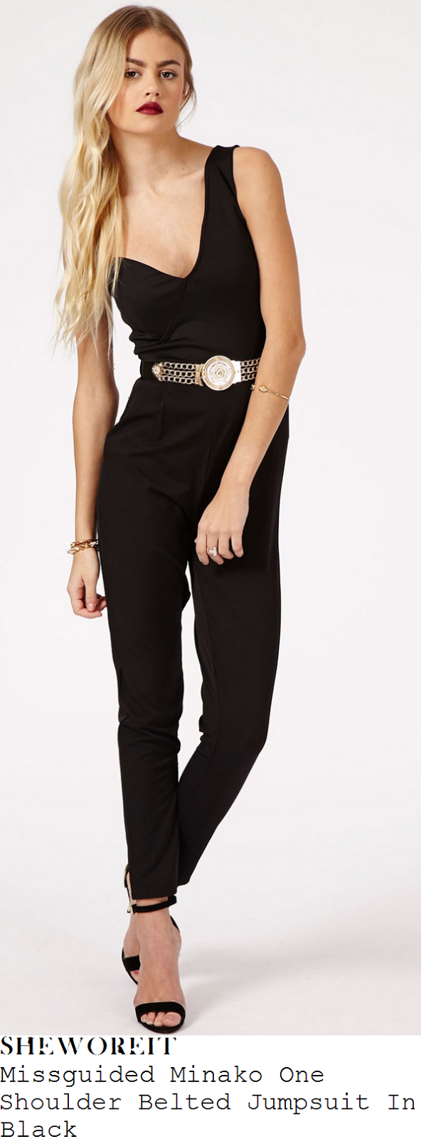 perrie-edwards-black-one-shoulder-asymmetric-sweetheart-neckline-tailored-jumpsuit-little-mix-gay
