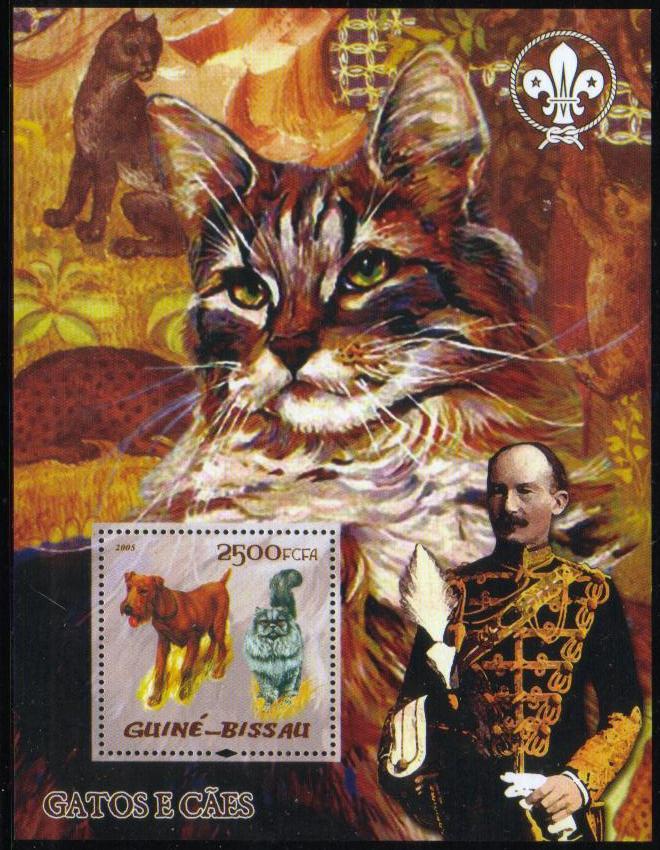 2005年ギニアビサウ共和国 アイリッシュ・テリアと猫の切手シート