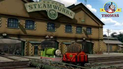 Victor the tank engine repair Sodor Island steamworks Calliope beautifully painted shiny red varnish