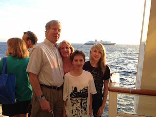 Mike, Gena, Sarena and Shiya on the cruise ship