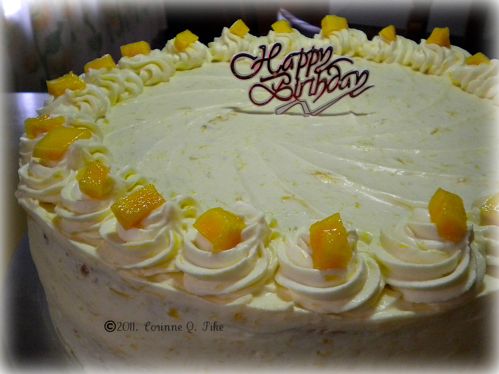 Mango Cake With Whipped Cream Frosting