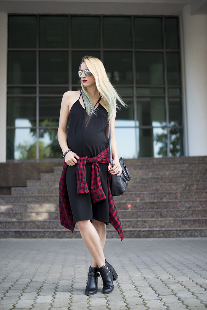 Skinny Buddha grunge little black dress plaid cut out boots