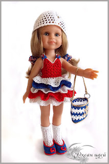 сарафан для куклы крючком