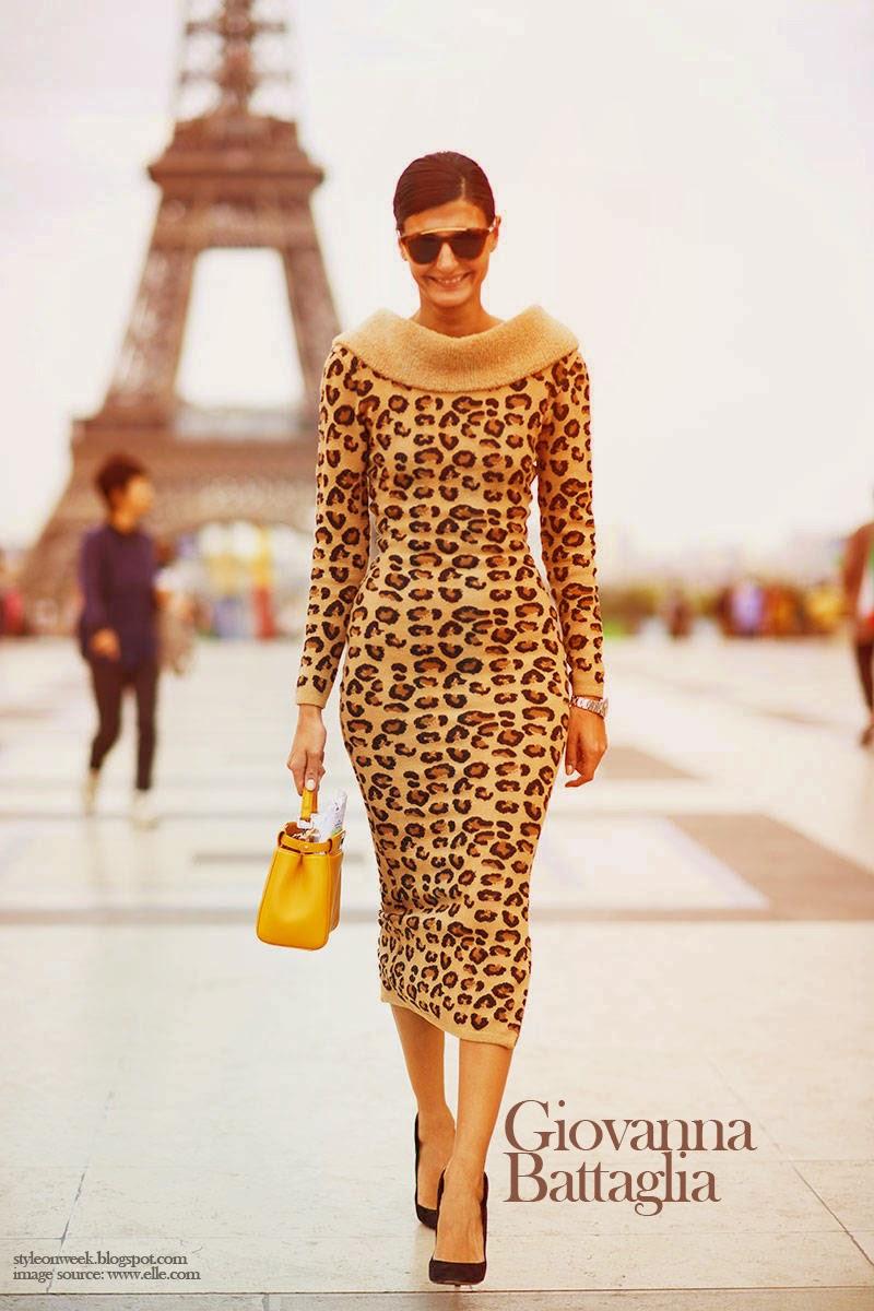 Giovanna Battaglia in Alaïa Leopard Sweater
