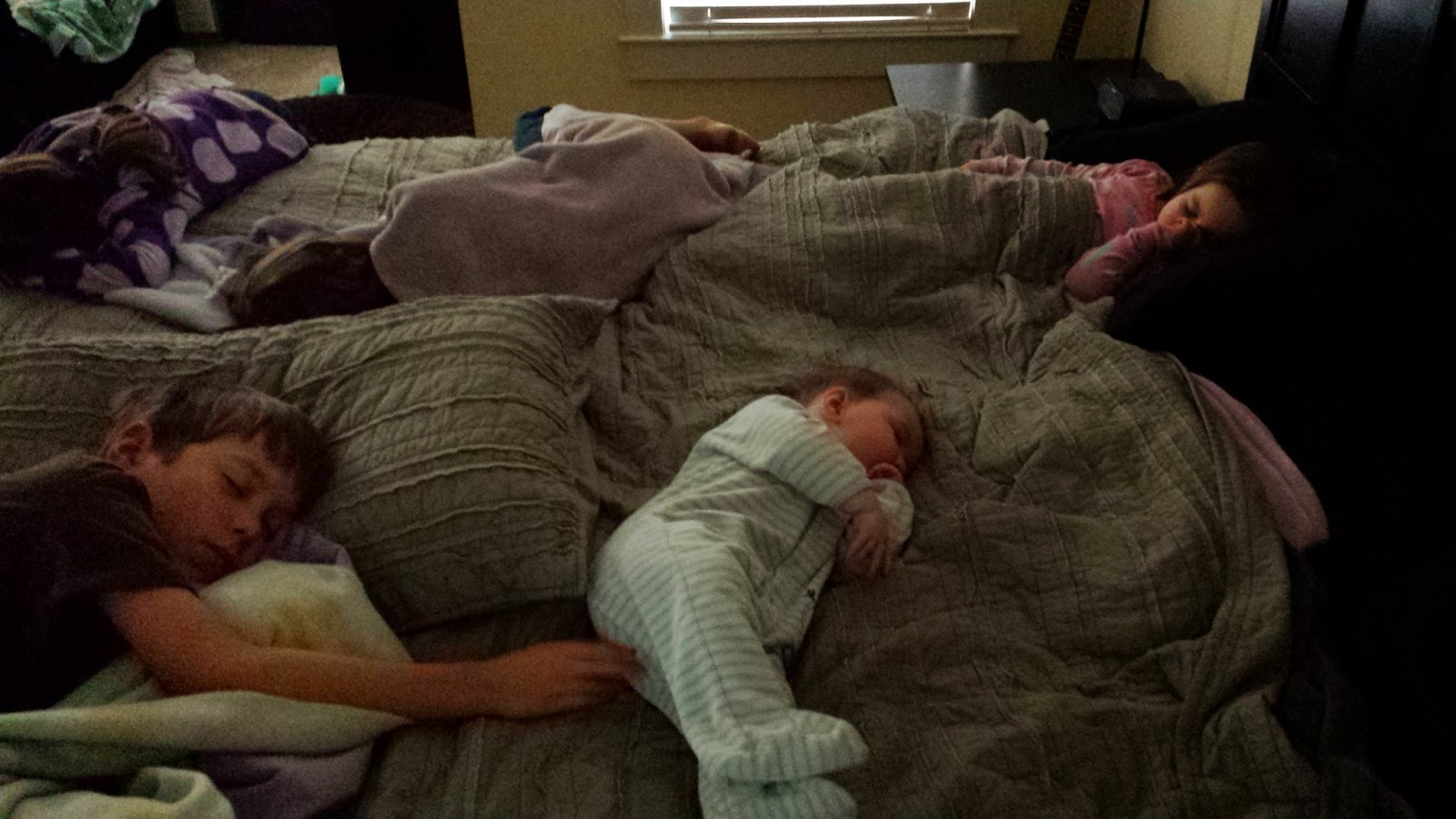 At one point, my bed was full of sick, feverish, weak little people. Poor kids.