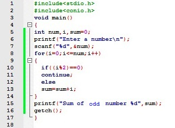 C Program To Find Sum Of N Odd Number About Codes