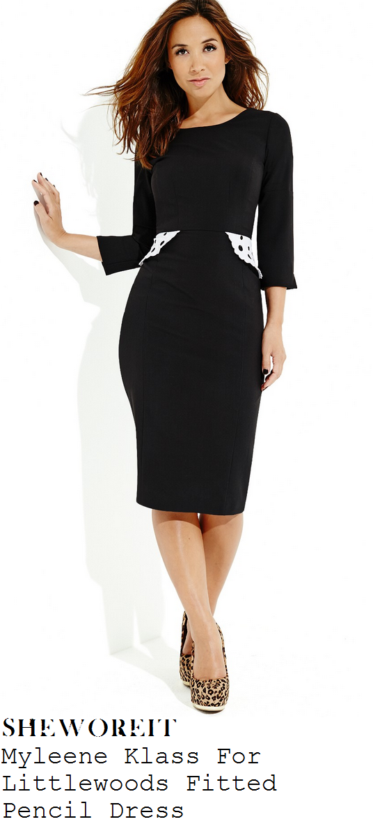 myleene-klass-black-three-quarter-sleeve-knee-length-pencil-dress-with-contrast-white-broderie-anglaise-lace-peplum-detail-lfw