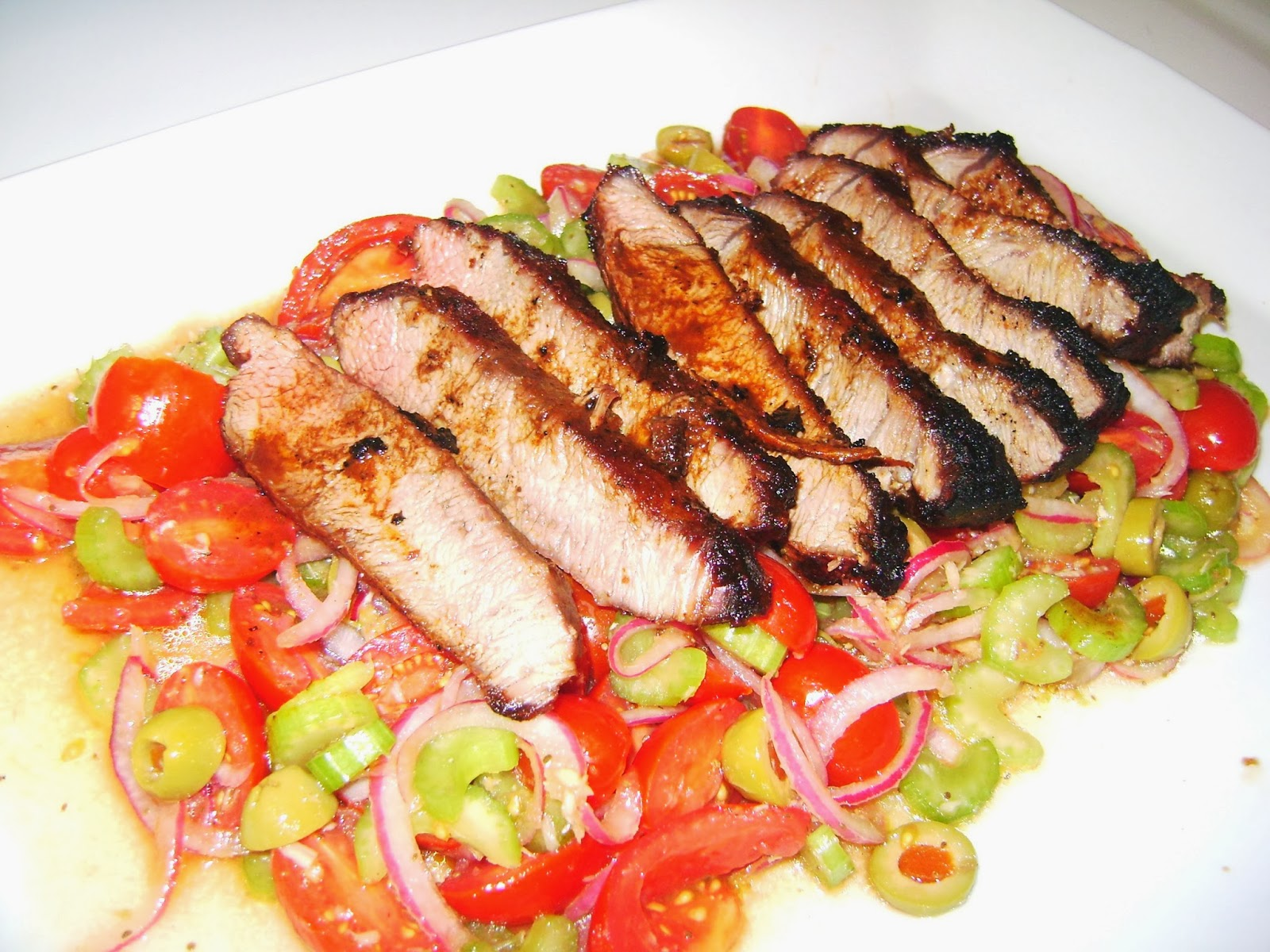 Flank Steak With Bloody Mary Tomato Salad Recipe — Dishmaps