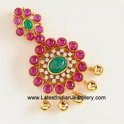 Addigai Style Ruby Emerald Pendants
