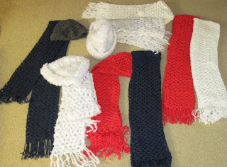 crocheted hats and scarves