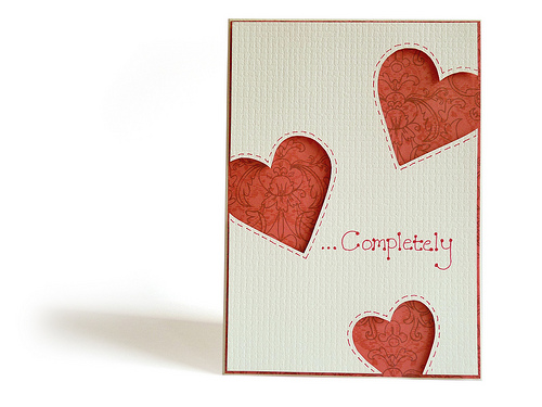 valentines day love heart papercraft card with apertures
