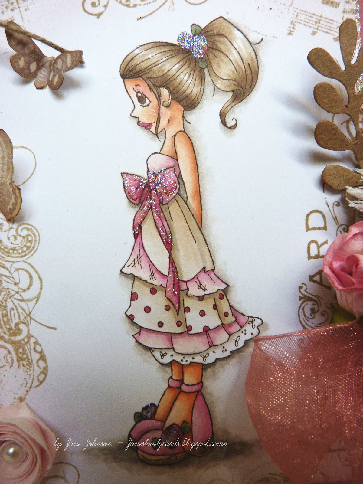 Janes lovely cards exciting news ribbon girl dt pink and ribbon girl dt pink and ivory bookmarktalkfo Gallery