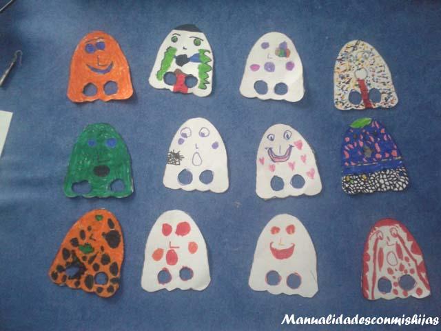 Manualidades infantiles: Marionetas fantasmas Halloween