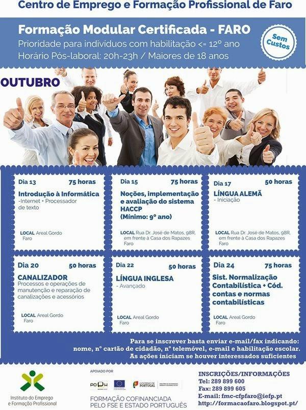 Formação modular gratuita no Centro de Emprego e Formação Profissional de Faro