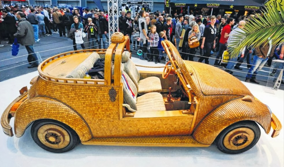 Wooden Volkswagen Beetle at the Essen Motor Show in Germany