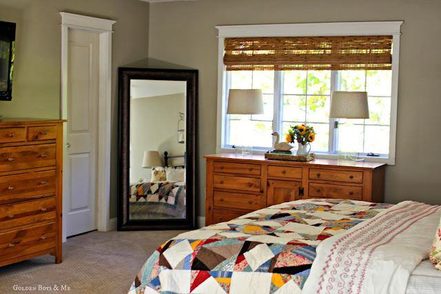 Master Bedroom with Pottery Barn Multistar Patchwork Quilt via www.goldenboysandme.com