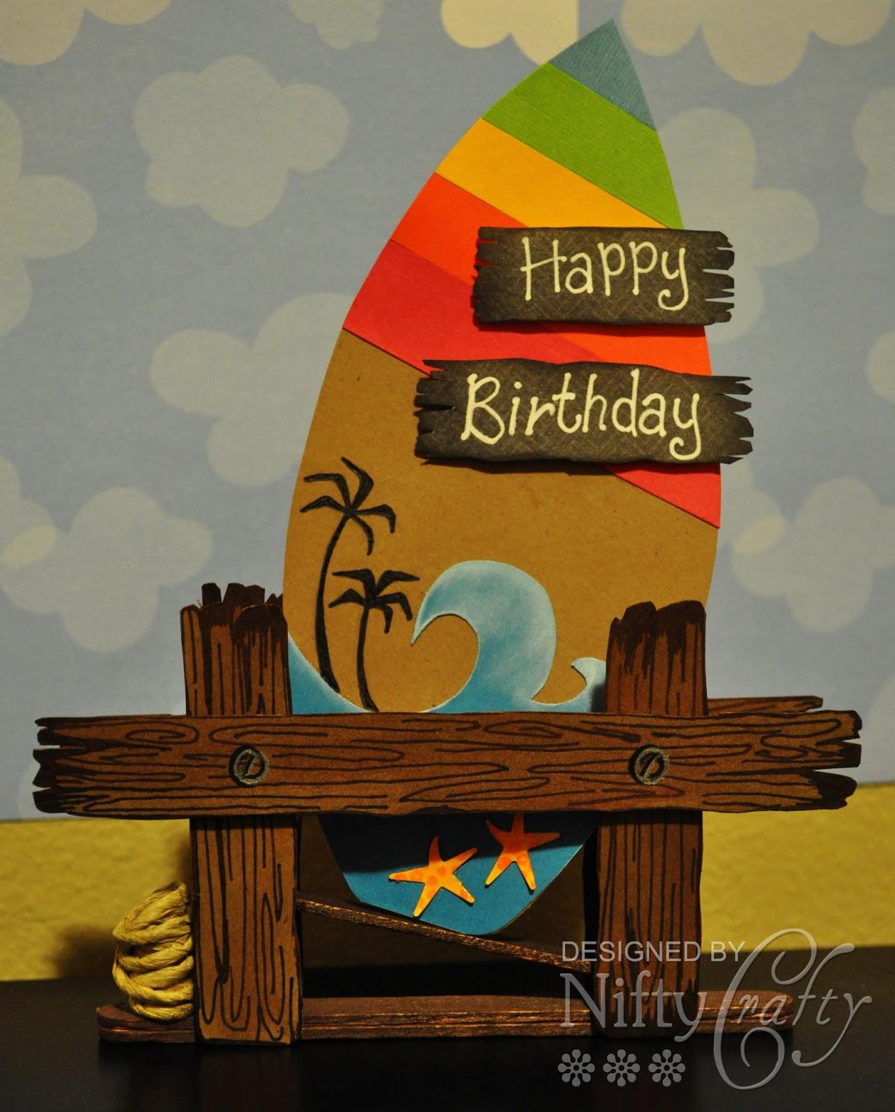 n i f t y c r a f t y Surf Board Birthday Card