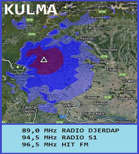 Mapa pokrivenosti Kulma-Kladovo