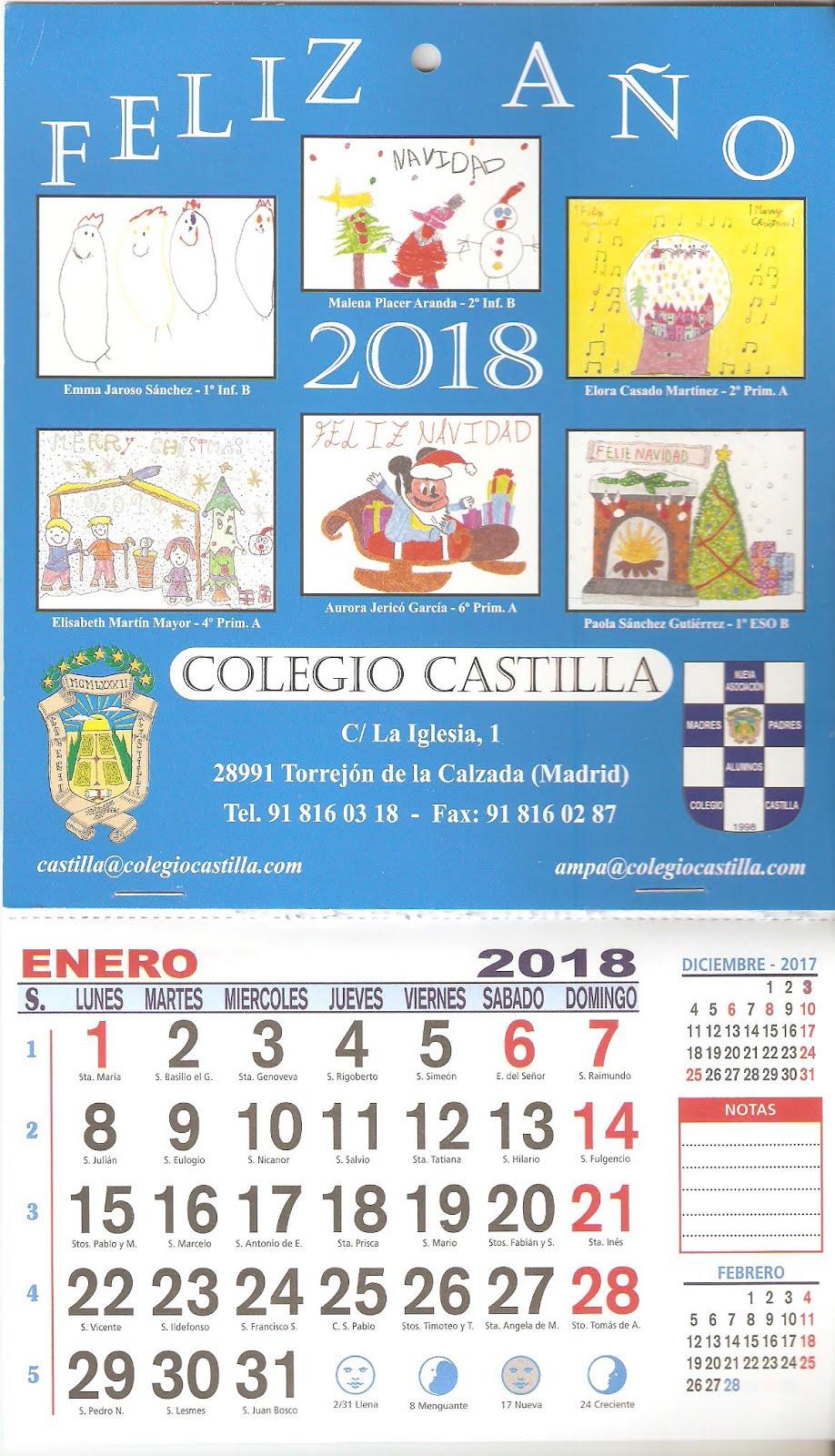 Calendario Navideño 2018 con los Christmas ganadores del concurso