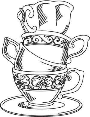 risco molde pintura em tecido xícaras
