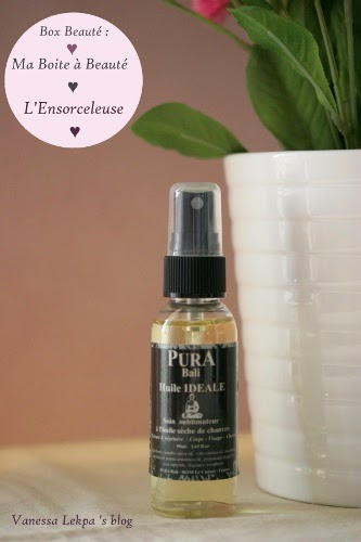 avis et contenu de box beauté : ma boîte à beauté Octobre L'Ensorceleuse huile idéale pura bali huile de chanvre