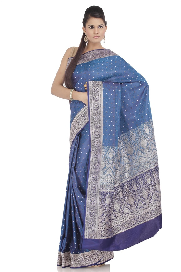 True Blue Art Kattan Silk Banarasi Saree
