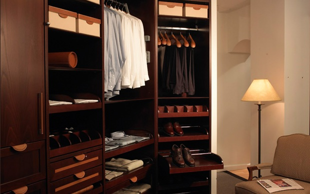 Dark Mahogany Closet With Pull Out Shelves And Valet Hook Swing Rod