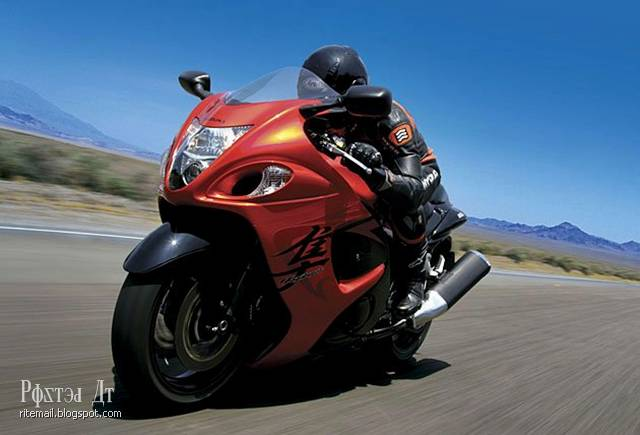 One of the fastest and most powerful bikes in the world. In 2011, during the race Loring Timing Association American Bill Warner (Bill Warner) dispersed the upgraded version of Hayabusa up to 502 kilometers per hour, which was a new speed record on a motorcycle.