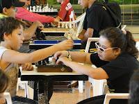 Andressa jogando xadrez no JERGS etapa municipal