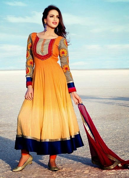 Two Color Shaded Dress Fashion for Girls