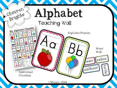 Alphabet Teaching Posters in Chevron
