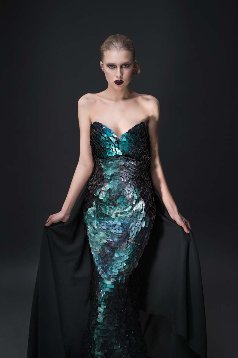 Evening gown made of recycle material