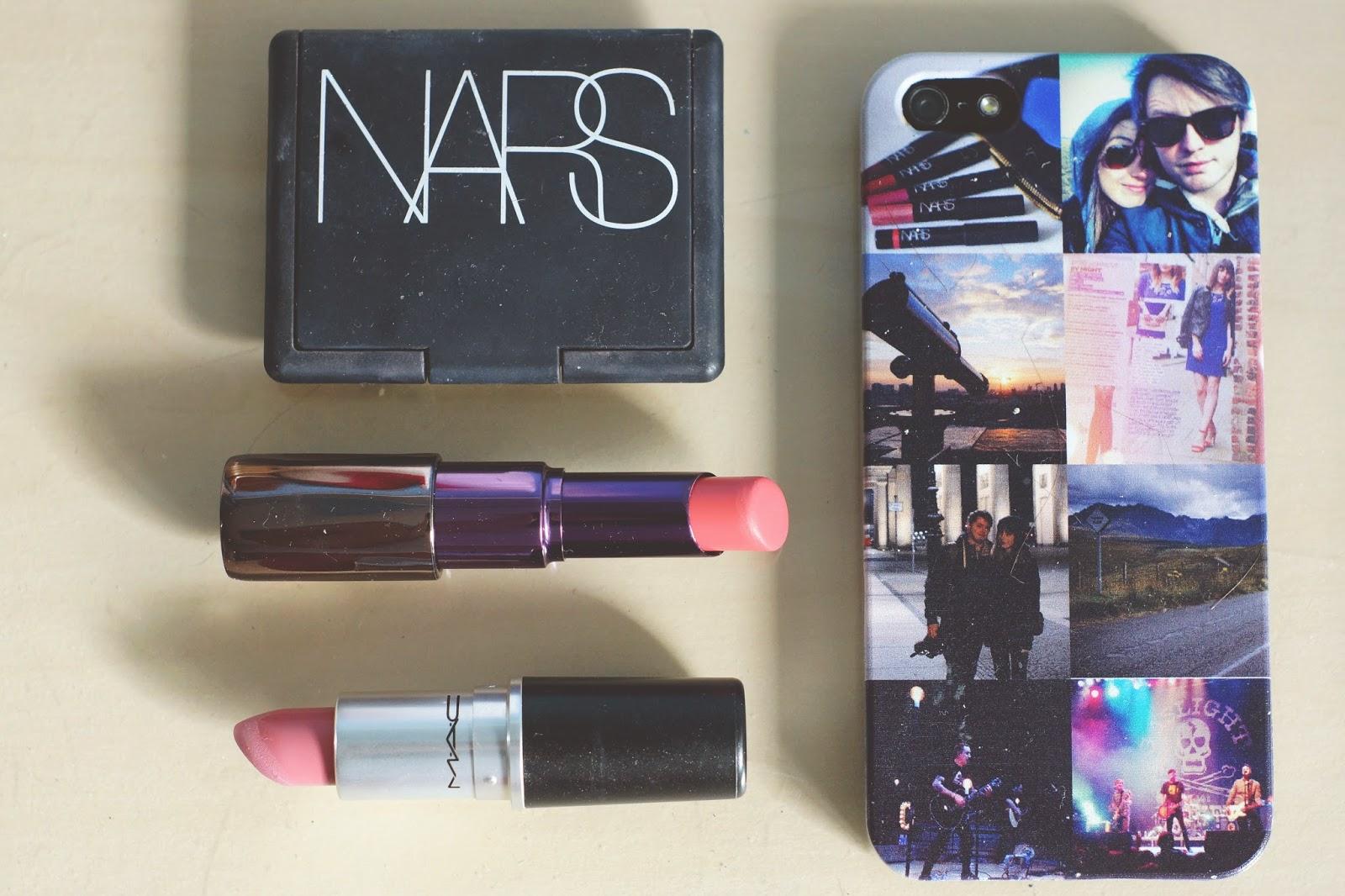 Nars blush, MAC lipstick, Urban Decay lipstick, iphone5