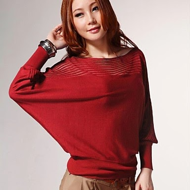 ladies red batwing fashion sweater