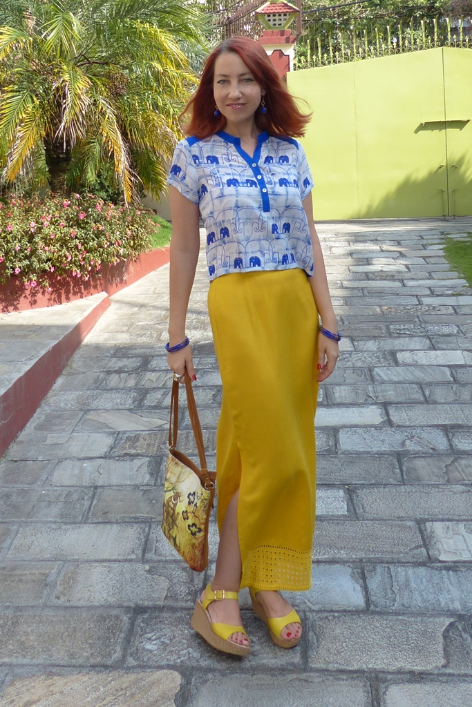 Global Desi mustard yellow maxi skirt and blue elephants crop top