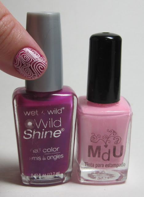 Bottle shot:  Wet 'n Wild Fashionista Lisa, and MdU Pastel Pink.