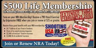 NRA life membership on sale $500