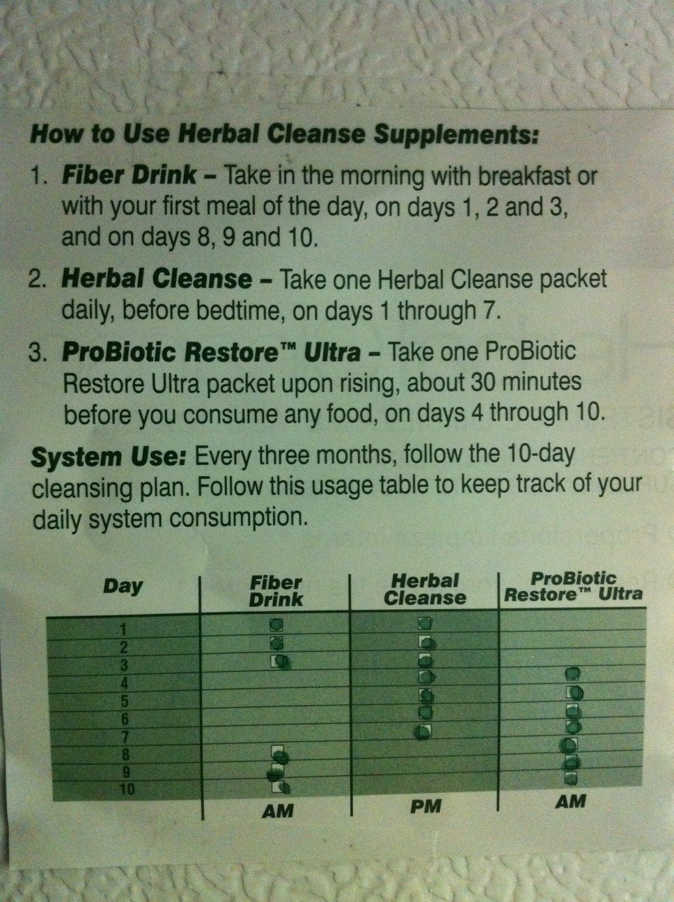 10 Day Cleanse AdvoCare Chart