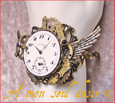bracelet steampunk cadran de montre gousset ailes steampunk jewel watch dial watchface wings
