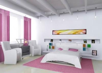 dormitorio rosa y blanco