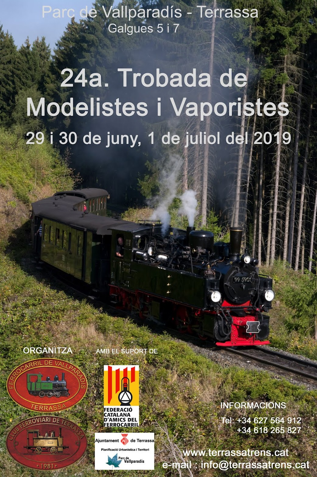 XXIV Trobada de Modelistes i Vaporistes. Festa Major de Terrassa 2019. Cartell
